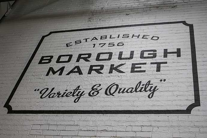 borough market sign on the wall