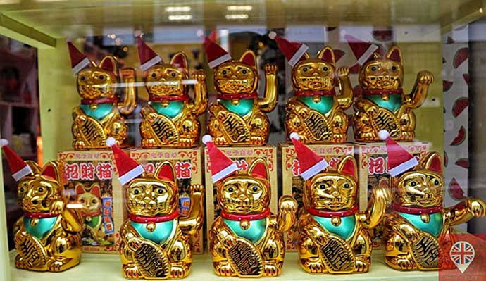 londres luzes natal vitrine gatos chineses