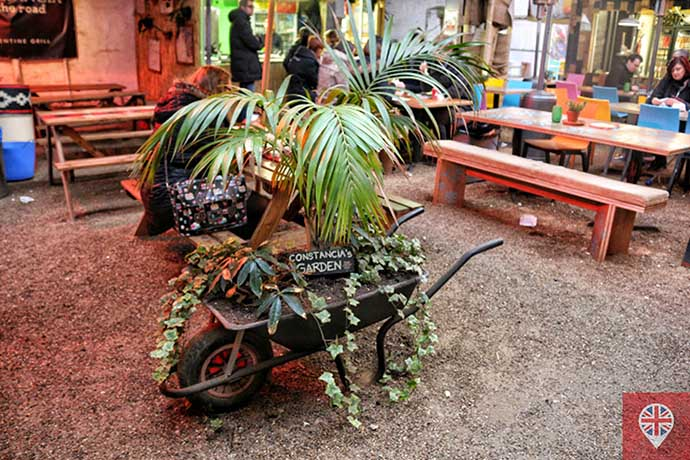 shoreditch high street food village wheelbarrow
