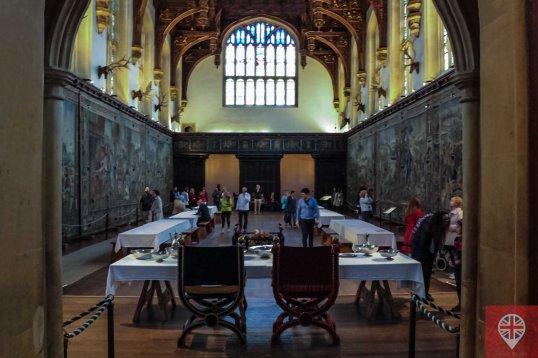 """Sala de banquete - Shakespeare e sua compania de teatro """"King's Men"""" se apresentaram aqui, em 1603, para o rei James I."""