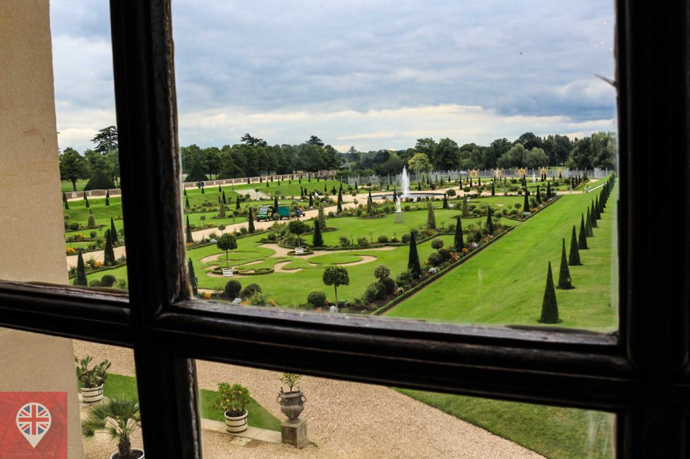 Hampton Court garden through window