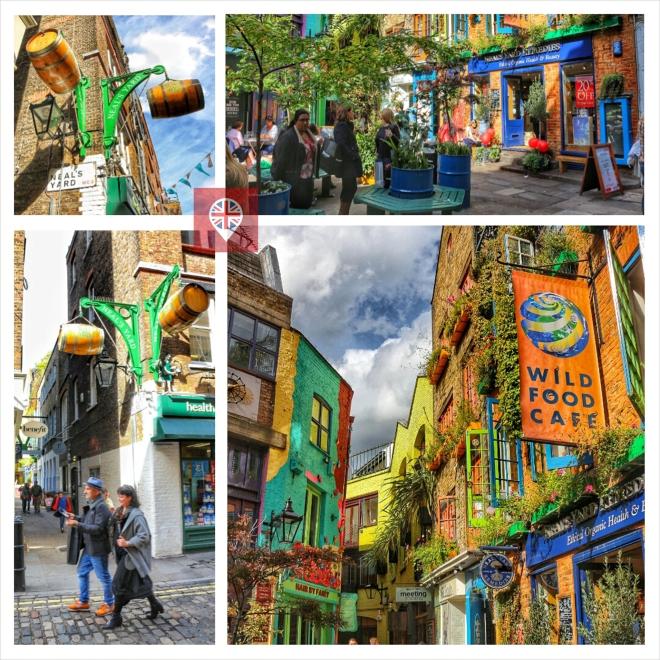 Partindo desse beco entre duas ruas de Seven Dials você chega ao Neal's Yard, um pequeno pátio colorido, cercado de lanchonetes de comidas orgânicas e lojas de aromaterapia.