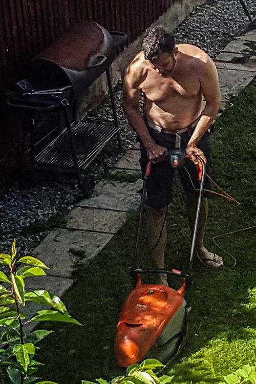 vizinho cortando grama
