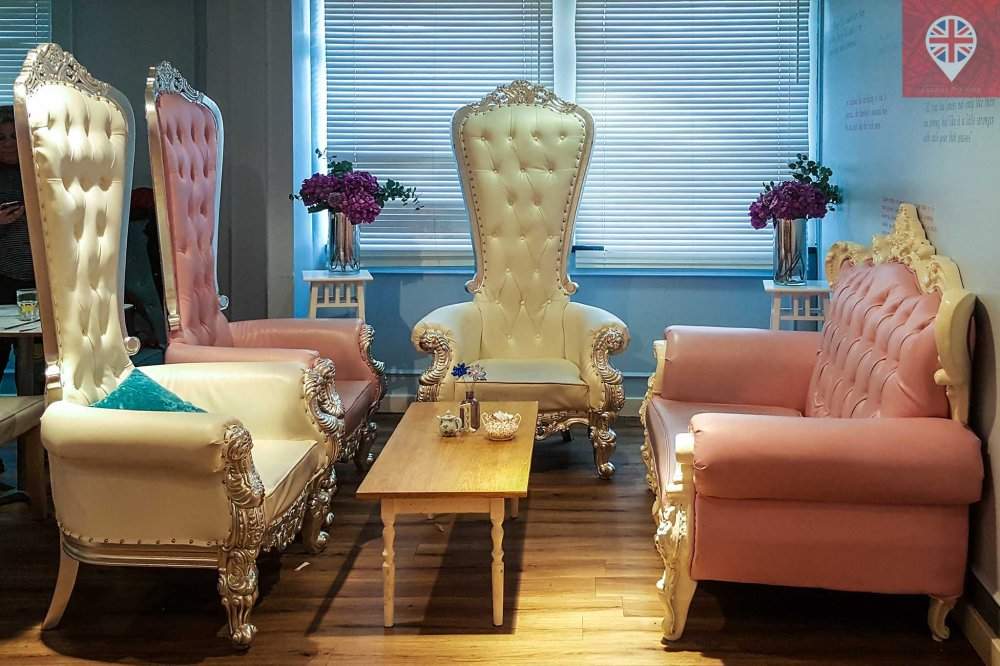 the tea terrace sofa and regal chairs