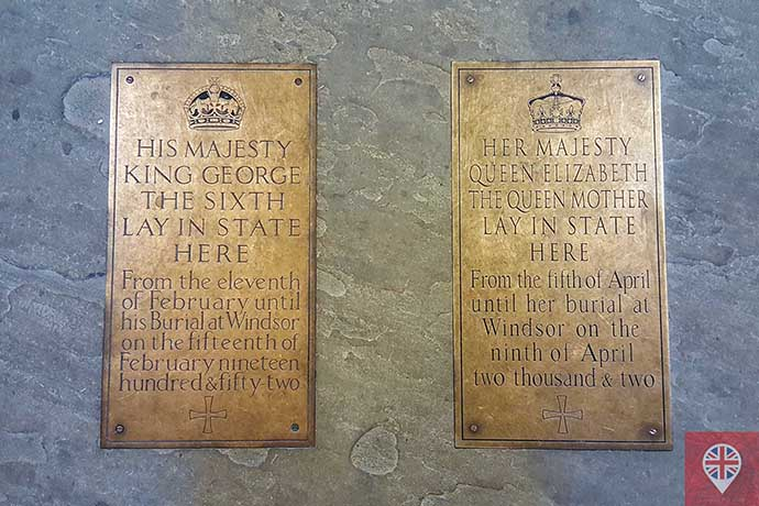 palace of westminster burial plaques king george sixth queem mother